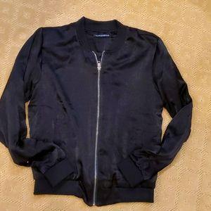 Brandy Melville black silky satin bomber